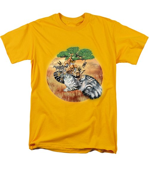 Cat In The Safari Hat Men's T-Shirt  (Regular Fit) by Carol Cavalaris