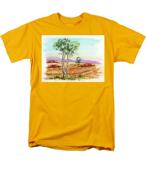 Men's T-Shirt  (Regular Fit) featuring the painting Australian Landscape Sketch by Margaret Stockdale