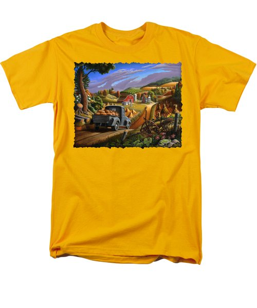 Autumn Appalachia Thanksgiving Pumpkins Rural Country Farm Landscape - Folk Art - Fall Rustic Men's T-Shirt  (Regular Fit) by Walt Curlee