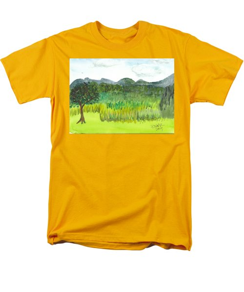 Men's T-Shirt  (Regular Fit) featuring the painting Backyard In Barton by Donna Walsh