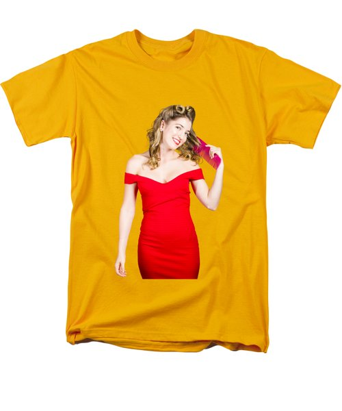 Beautiful Woman With Long Curly Hair And Brush Men's T-Shirt  (Regular Fit) by Jorgo Photography - Wall Art Gallery
