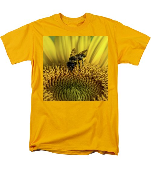 Men's T-Shirt  (Regular Fit) featuring the photograph Bee In A Sunflower by Paul Freidlund