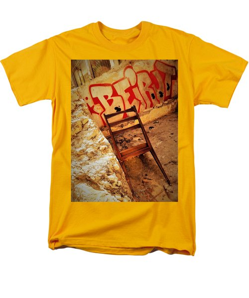 Beirut Graffiti With A Lonely Chair  Men's T-Shirt  (Regular Fit) by Funkpix Photo Hunter
