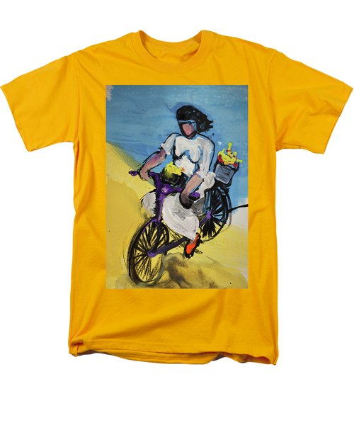 Bicycle Riding With Baskets Of Flowers Men's T-Shirt  (Regular Fit) by Amara Dacer
