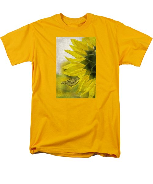 Men's T-Shirt  (Regular Fit) featuring the photograph Bird On Sunflower by Betty Denise
