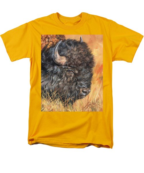 Men's T-Shirt  (Regular Fit) featuring the painting Bison by David Stribbling