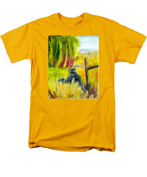 Men's T-Shirt  (Regular Fit) featuring the painting Bridge Over Small Stream by Sherril Porter