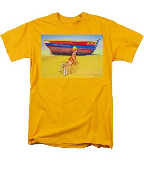 Brightly Painted Wooden Boats With Terrier And Friend Men's T-Shirt  (Regular Fit) by Charles Stuart