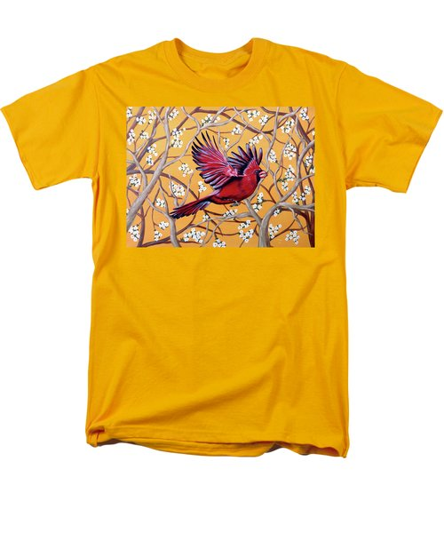 Men's T-Shirt  (Regular Fit) featuring the painting Cardinal In Flight by Teresa Wing