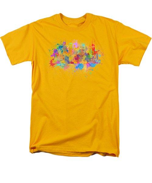 Chicago Skyline Paint Splatter Illustration Men's T-Shirt  (Regular Fit) by Jit Lim