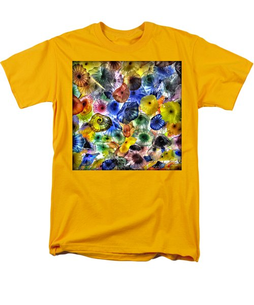 Colorful Glass Ceiling In Bellagio Lobby Men's T-Shirt  (Regular Fit) by Walt Foegelle