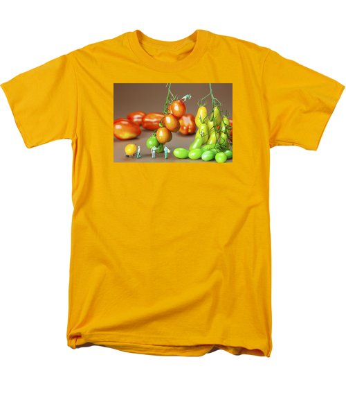 Men's T-Shirt  (Regular Fit) featuring the photograph Colorful Tomato Harvest Little People On Food by Paul Ge