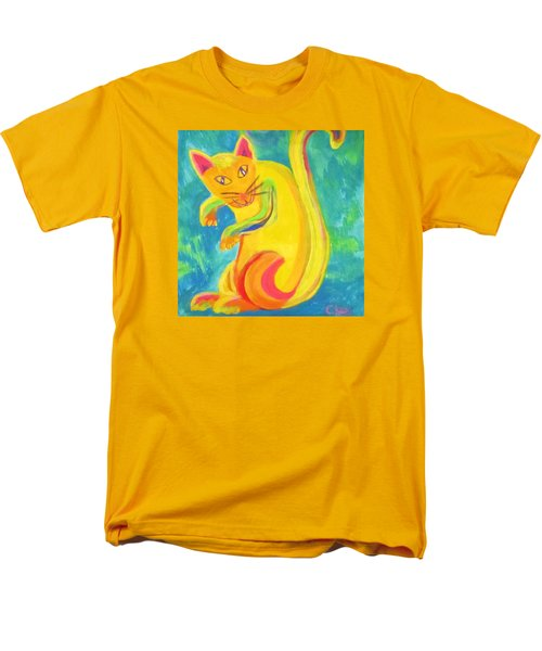 Men's T-Shirt  (Regular Fit) featuring the painting Curious Kitty by Cathy Long
