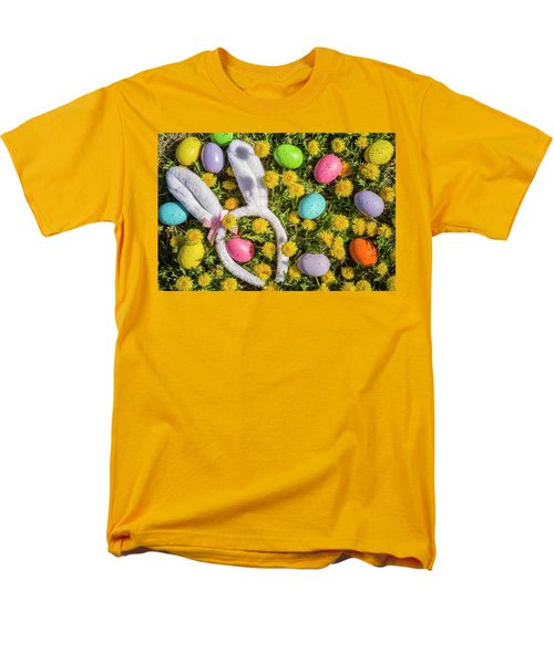 Men's T-Shirt  (Regular Fit) featuring the photograph Easter Eggs And Bunny Ears by Teri Virbickis