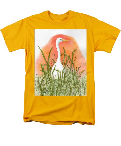 Men's T-Shirt  (Regular Fit) featuring the painting Egret Color In Sunset by Peggy A Borel