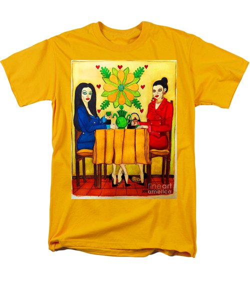 Men's T-Shirt  (Regular Fit) featuring the painting Elegant Ladies In A Coffee-shop by Don Pedro De Gracia