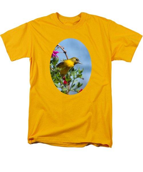 Female Baltimore Oriole In A Flower Basket Men's T-Shirt  (Regular Fit)