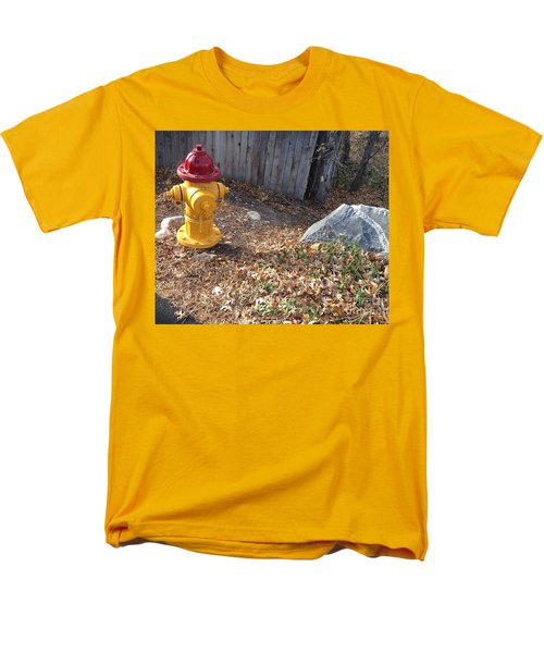 Men's T-Shirt  (Regular Fit) featuring the photograph Fire Hydrant Checking Its Facerock by Richard W Linford