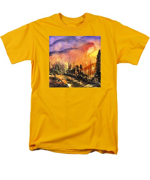 Fires In Our Mountains Tonight Men's T-Shirt  (Regular Fit) by Randy Sprout