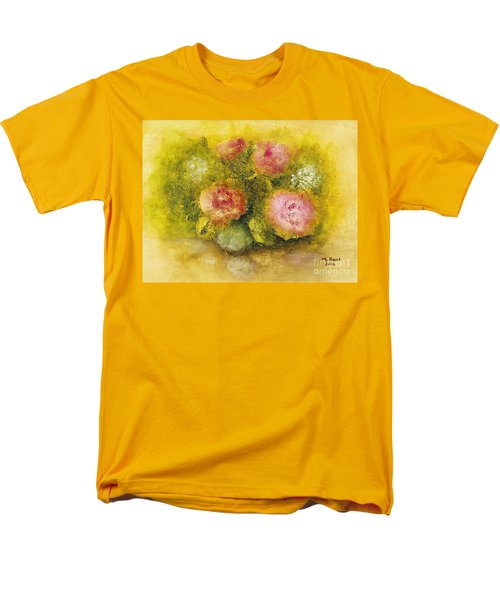 Men's T-Shirt  (Regular Fit) featuring the painting Flowers Pink by Marlene Book