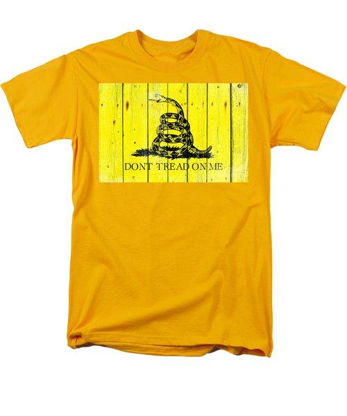 Gadsden Flag On Old Wood Planks Men's T-Shirt  (Regular Fit) by M L C