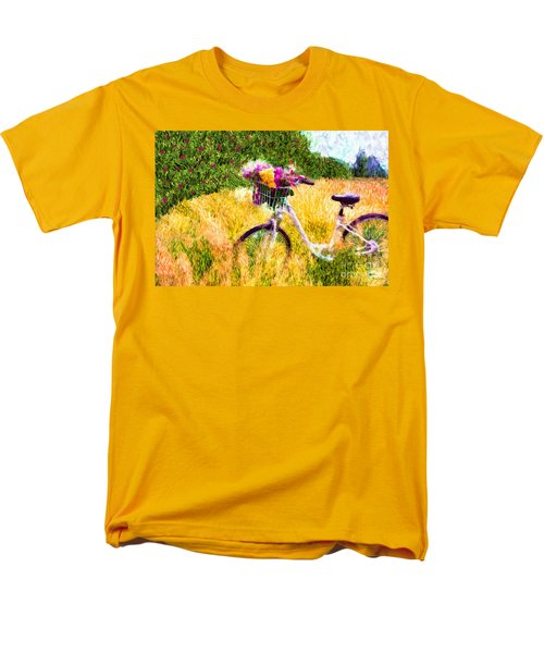 Garden Bicycle Print Men's T-Shirt  (Regular Fit) by Tina LeCour
