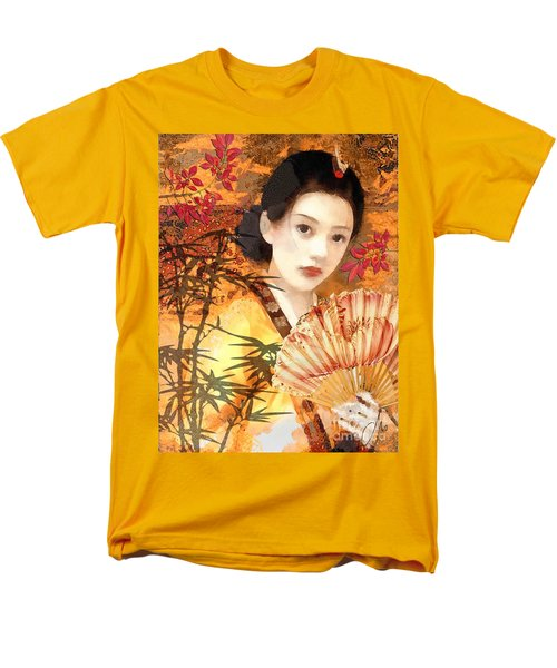 Geisha With Fan Men's T-Shirt  (Regular Fit) by Mo T