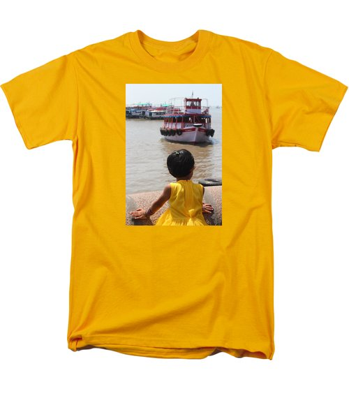 Girl In Yellow Dress W/leaf In Hair Looking At Boats Men's T-Shirt  (Regular Fit) by Jennifer Mazzucco