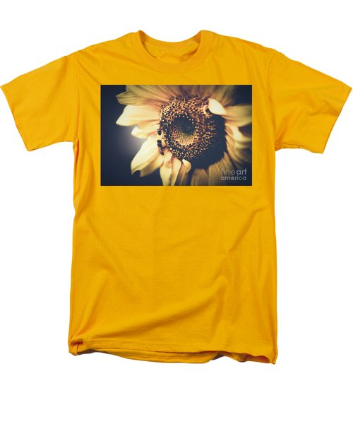 Men's T-Shirt  (Regular Fit) featuring the photograph Golden Honey Bees And Sunflower by Sharon Mau