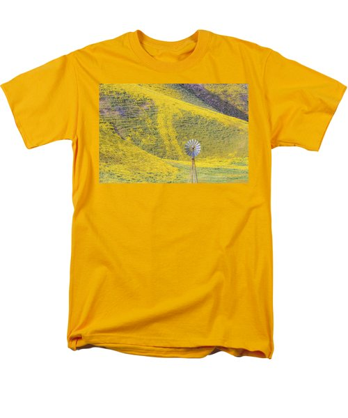 Goldfields And Windmill At Carrizo Plain  Men's T-Shirt  (Regular Fit) by Marc Crumpler