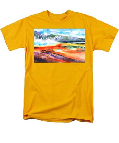 Grand Prismatic Hot Spring Men's T-Shirt  (Regular Fit) by Betty M M Wong