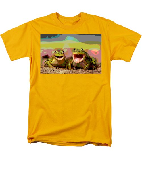 Men's T-Shirt  (Regular Fit) featuring the mixed media Happy Frog by Charles Shoup