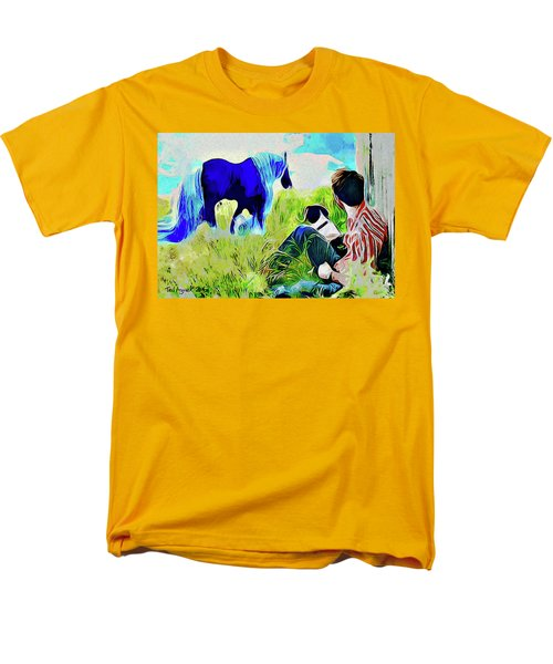 Men's T-Shirt  (Regular Fit) featuring the painting Horse Whisperer by Ted Azriel