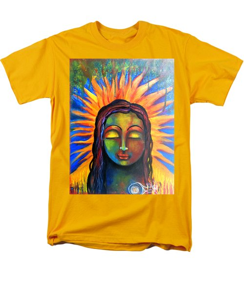 Men's T-Shirt  (Regular Fit) featuring the mixed media Illuminated By Her Own Radiant Self by Prerna Poojara