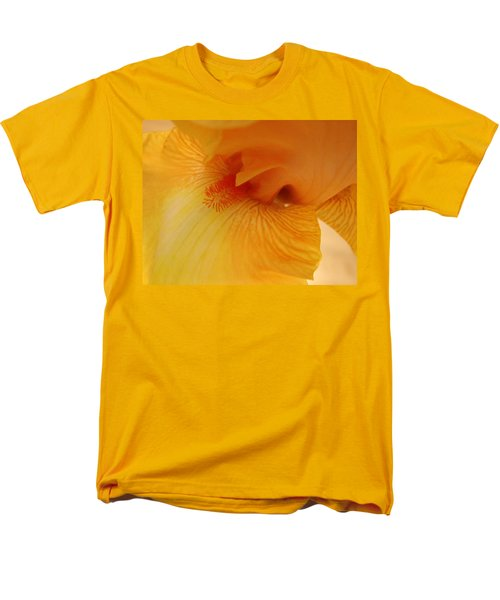 Men's T-Shirt  (Regular Fit) featuring the digital art Inner Iris, Yellow, Close-up by Jana Russon