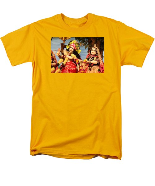 Krishna And Radha At Radha Gopinath Mandir, Mumbai Men's T-Shirt  (Regular Fit) by Jennifer Mazzucco
