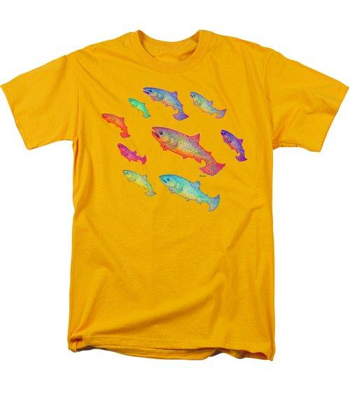 Leaping Salmon Design Men's T-Shirt  (Regular Fit) by Teresa Ascone