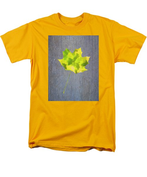 Men's T-Shirt  (Regular Fit) featuring the photograph Leaves Through Maple Leaf On Texture 2 by Gary Slawsky