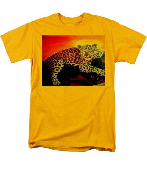 Leopard On A Tree Men's T-Shirt  (Regular Fit) by Manuel Sanchez