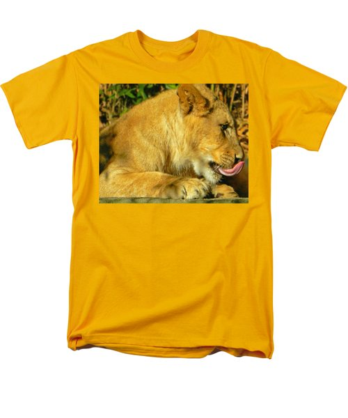 Lion Cub - What A Yummy Snack Men's T-Shirt  (Regular Fit) by Emmy Marie Vickers