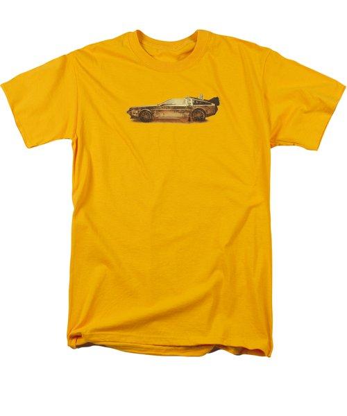 Lost In The Wild Wild West Golden Delorean Doubleexposure Art Men's T-Shirt  (Regular Fit) by Philipp Rietz