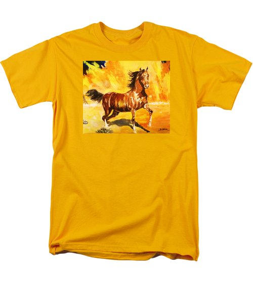 Men's T-Shirt  (Regular Fit) featuring the painting Lone Mustang by Al Brown