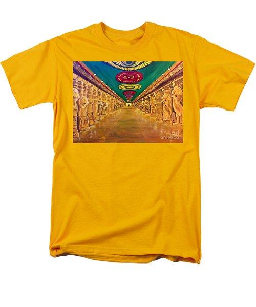 Men's T-Shirt  (Regular Fit) featuring the painting Madurai Meenakshi Temple Mandapam by Brindha Naveen