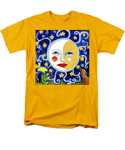 Men's T-Shirt  (Regular Fit) featuring the painting Moonface With Wolf And Stars by Genevieve Esson