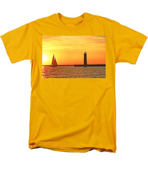 Muskegon Sunset Men's T-Shirt  (Regular Fit) by Michael Peychich