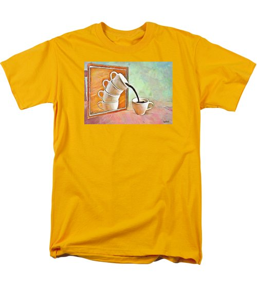 Men's T-Shirt  (Regular Fit) featuring the painting Night At The Art Gallery - Instant Coffee by Wayne Pascall