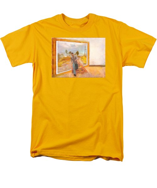 Men's T-Shirt  (Regular Fit) featuring the painting Night At The Art Gallery - Railway To Freedom by Wayne Pascall