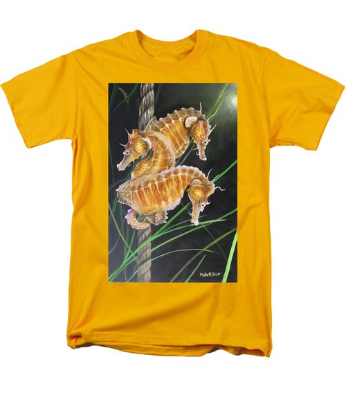 Pacific Lined Seahorse Trio Men's T-Shirt  (Regular Fit) by Phyllis Beiser