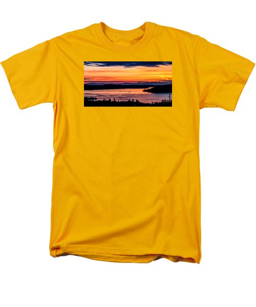 Men's T-Shirt  (Regular Fit) featuring the photograph Panoramic Sunset Over Hail Passage E Series On The Puget Sound by Rob Green