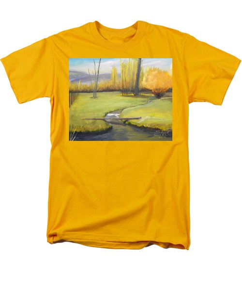 Men's T-Shirt  (Regular Fit) featuring the painting Placid Stream In Field by Sherril Porter